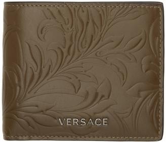 Versace Khaki Embossed Barocco Bifold Wallet