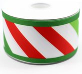 "Midi Ribbon 3"" 75mm Wide XMAS Christmas Red Stripe Print Grosgrain Ribbon 50 Yards/Roll-DIY Crafts Large Cheer Bow,Gift Bows,Door Decorate,Home Party Cake Packing"