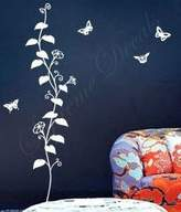 Custom PopDecals - Ivy leaves and butterflies - 51 in tall - Beautiful Tree Wall Decals for Kids Rooms Teen Girls Boys Wallpaper Murals Sticker Wall Stickers Nursery Decor Nursery Decals