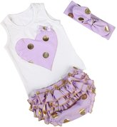 Messy Code Baby Girls Outfit Sweet Gold polka dot Baby Briefs Set with Headband 6 Months