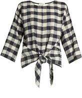 Masscob Wool and linen-blend gingham top