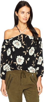 Lucca Couture Women's Louise Floral Print Cold Shoulder Top