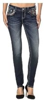 Miss Me Jeans Women's Red & Green Feather Embellished Skinny