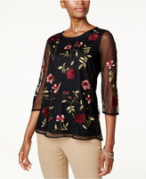 Charter Club Petite Floral-Embroidered Mesh Top, Created for Macy's