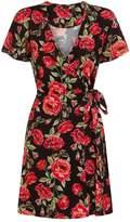 Girls On Film **Girls On Film Black Rose Print Wrap Dress