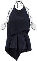 Jonathan Simkhai Cold Shoulder Silk Ruffle Top