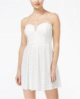 B. Darlin Juniors' Strapless Lace Fit & Flare Dress