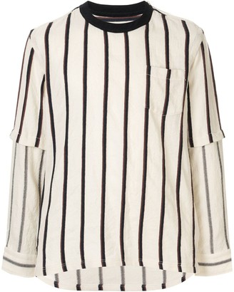Sacai Long Sleeved Striped Sweatshirt