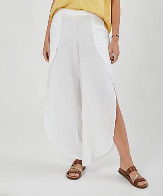 Ornella Paris Women's Casual Pants - White Linen Tulip Pants - Women & Plus