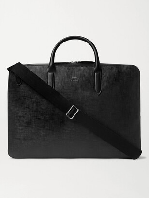 Smythson Panama Cross-Grain Leather Briefcase - Men - Black