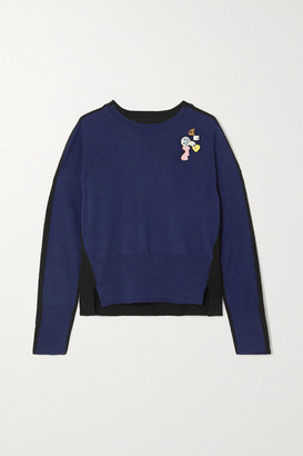 Marc Jacobs Embellished Two-tone Wool Sweater - Navy