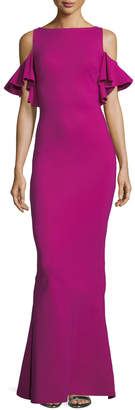 Chiara Boni Tata Long Cold-Shoulder Ruffle-Sleeve Gown
