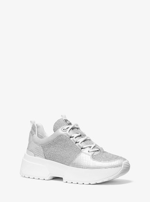 MICHAEL Michael Kors Cosmo Metallic Knit and Snake-Embossed Leather Trainer