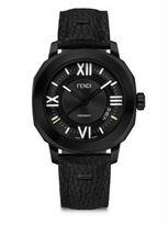 Fendi Selleria Black Stainless Steel, Leather & Alligator Strap Watch
