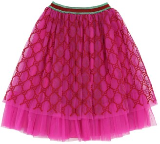 Gucci Logo Embroidered Tulle Skirt