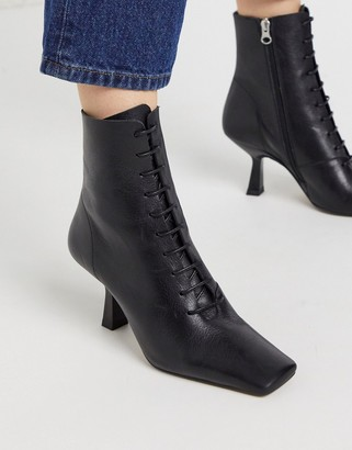 CHIO Exclusive lace up heeled ankle boots in black leather