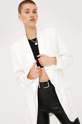 Nasty Gal Womens Strong Enough Oversized Blazer Dress - White - 10