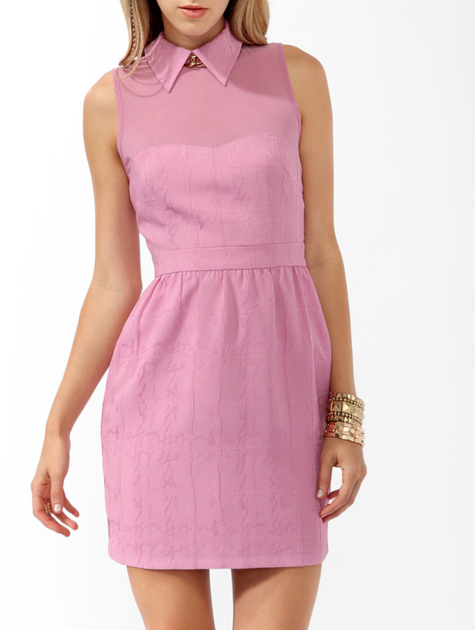 Forever 21 Collared Brocade Sheath Dress