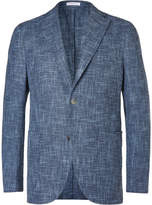 Boglioli - Blue Slub Cotton, Linen And Silk-blend Blazer