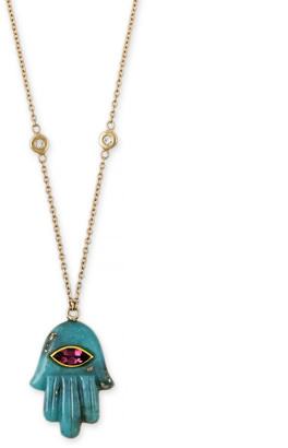 Jacquie Aiche Marquise Pink Tourmaline Turquoise Hamsa Necklace - Yellow Gold