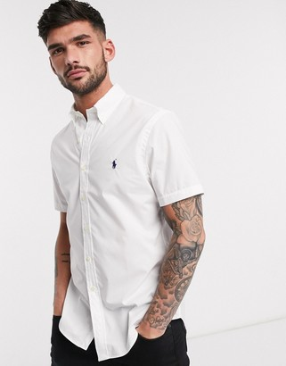 Polo Ralph Lauren short sleeve poplin shirt slim fit player logo in white