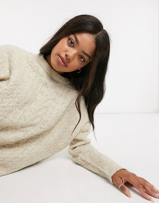 Urban Bliss crew neck cable knit jumper in light grey