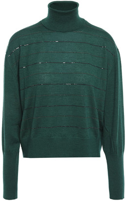 Brunello Cucinelli Embellished Cashmere And Silk-blend Turtleneck Sweater