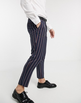 Shelby & Sons tapered cropped trousers in stripe with chain