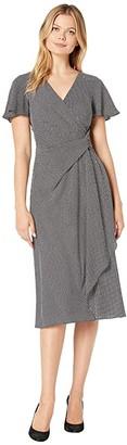 Lauren Ralph Lauren Printed Bubble Crepe Ezra Short Sleeve Day Dress (Black/Colonial Cream) Women's Clothing