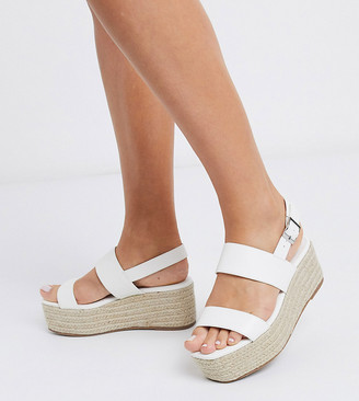 Truffle Collection wide fit platform espadrilles in white
