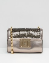 Aldo Pewter And Sequined Cross Body Bag