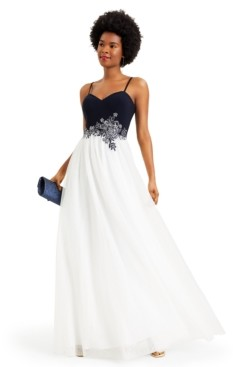 Thumbnail for your product : Blondie Nites Juniors' Embellished Applique Gown