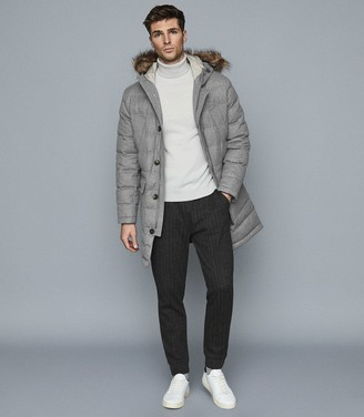 Reiss Ocean - Faux Fur Quilted Parka in Soft Grey