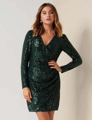 Ever New Jessica Long Sleeve Sequin Dress
