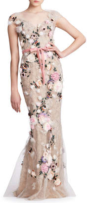 Marchesa Feather Trim Floral-Embroidered Tulle V-Neck Gown