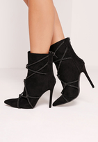 Missguided Black Faux Suede Rope Detail Heeled Ankle Boots