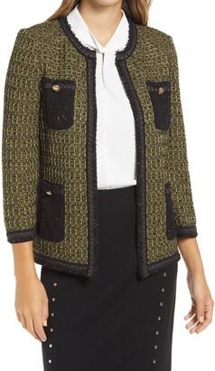 Ming Wang Metallic Tweed Knit Jacket