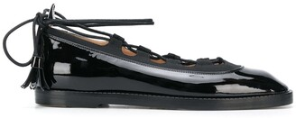 Thom Browne Ghillie leather ballerina flats