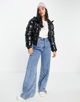 Thumbnail for your product : Brave Soul abiona vinyl puffer jacket in black