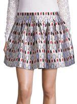 Alice + Olivia Fizer Pleated Printed Skirt