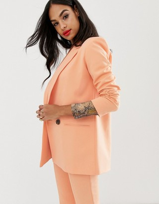 Asos Design DESIGN cantaloupe suit blazer with contrast buttons-Pink