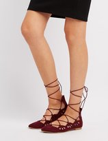 Charlotte Russe Qupid Laser Cut Lace-Up Flats