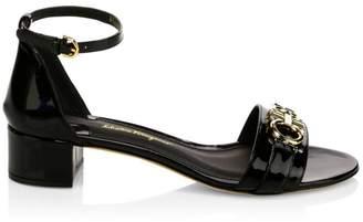 Salvatore Ferragamo Como Gancini Logo Patent Leather Sandals