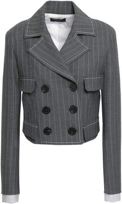 Piazza Sempione Cropped Double-breasted Pinstriped Woven Blazer
