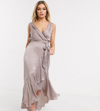 Flounce London satin wrap front midaxi dress in antique