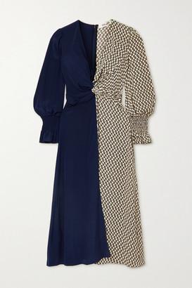Diane von Furstenberg Michelle Knotted Paneled Silk Crepe De Chine Midi Dress - Black