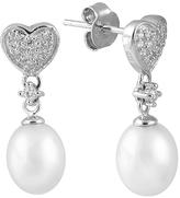 Bella Pearl Pearl & Sterling Silver Heart Drop Earrings