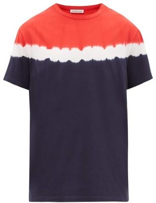 Moncler Logo-patch Tie-dye Cotton-jersey T-shirt - Blue Multi