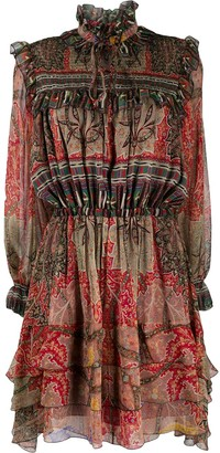 Etro Ornate-Print Smocked Panel Dress