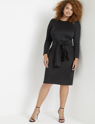 ELOQUII Long Sleeve Scuba Dress with Tie